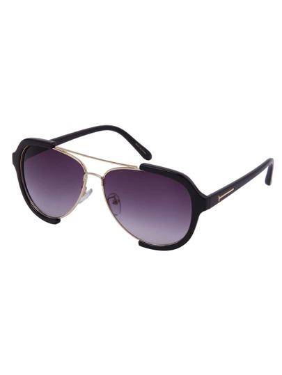 Black Open Frame Double Bridge Aviator Sunglasses