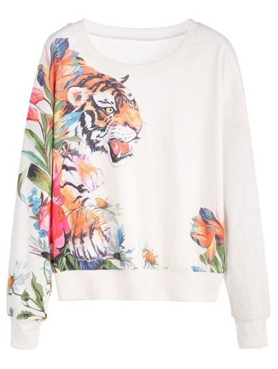 White Tiger Print Sweatshirt