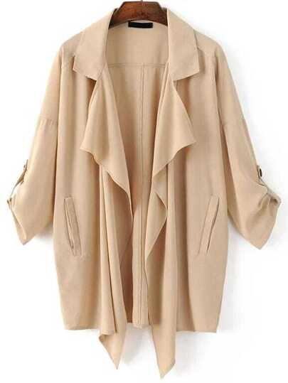 Khaki Draped Neck Drop Shoulder Coat With Pockets