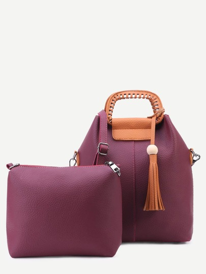 Burgundy Faux Leather Tassel Trim Shoulder Bag Set