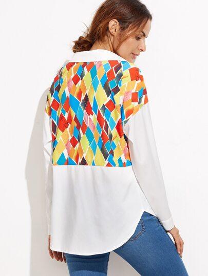 Geo Print Dip Hem Shirt With Patch Pocket