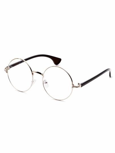Gafas de sol marco plata con brazo negro con lentes transparente