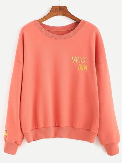 Orange Drop Shoulder Embroidered Sweatshirt