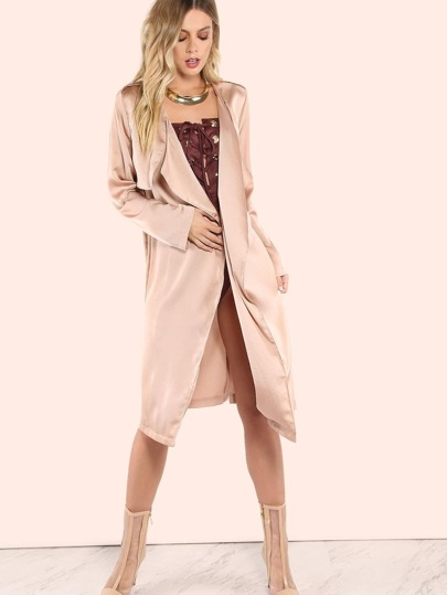 Satin Waterfall Duster Coat TAUPE