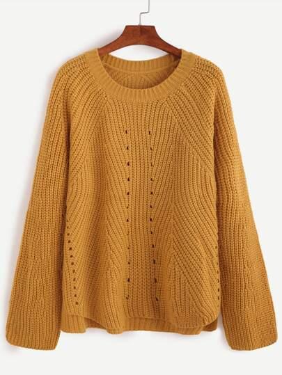 Yellow Eyelet High Low Sweater