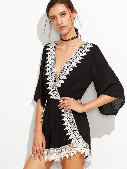 Black V Neck Contrast Lace Trim Romper