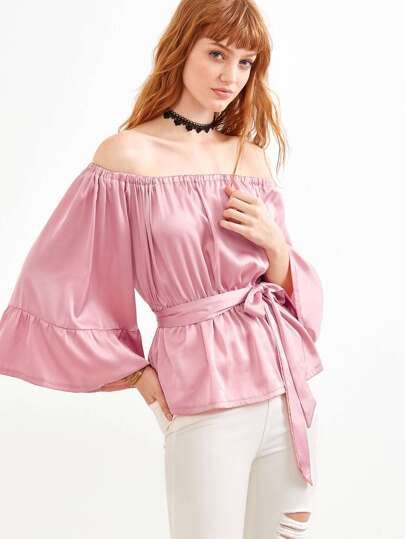 Pink Off The Shoulder Bell Sleeve Self Tie Top