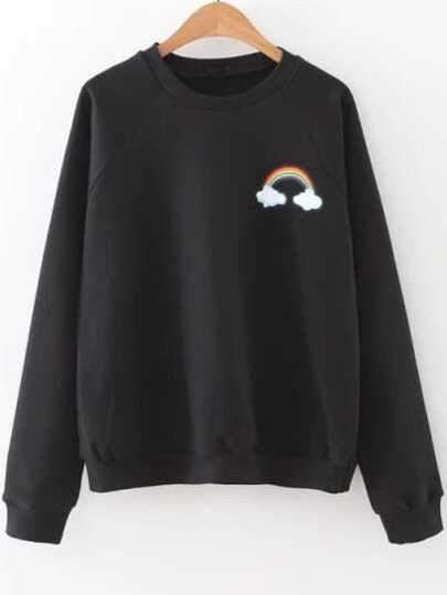 Black Rainbow Print Raglan Sleeve Sweatshirt