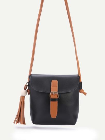 Black PU Buckle Closure Tassel Trim Shouler Bag