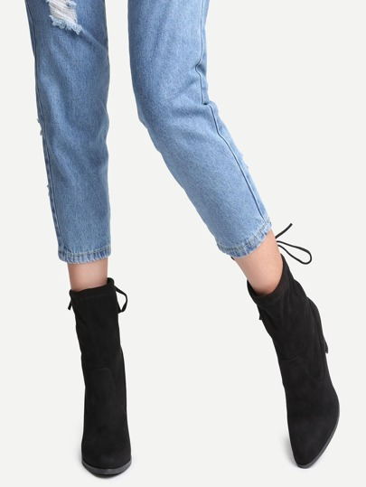 Black Faux Suede Point Toe Tie Back Boots