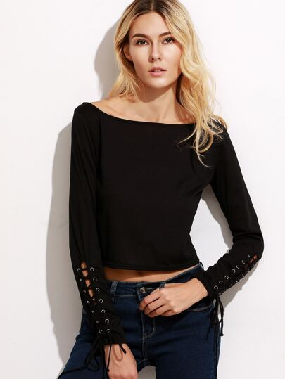 Black Scoop Neck Lace Up Crop T-shirt