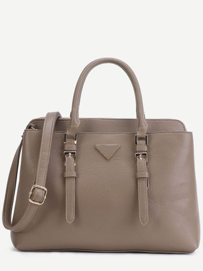 Khaki Pebbled PU Double Buckle Handbag With Strap