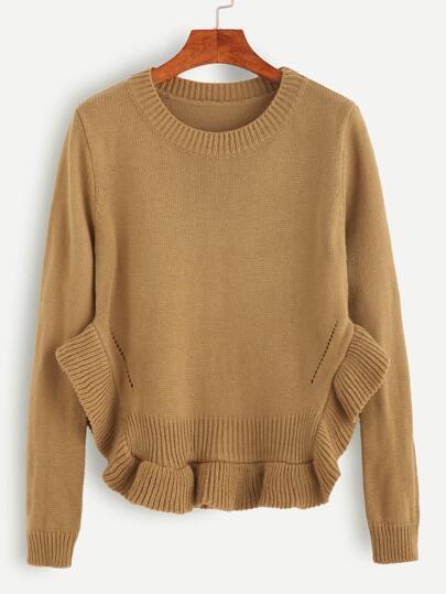 Khaki Ruffle Hem Eyelet Sweater