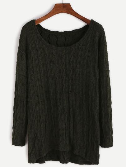 Drop Shoulder Cable Knit Dip Hem Sweater