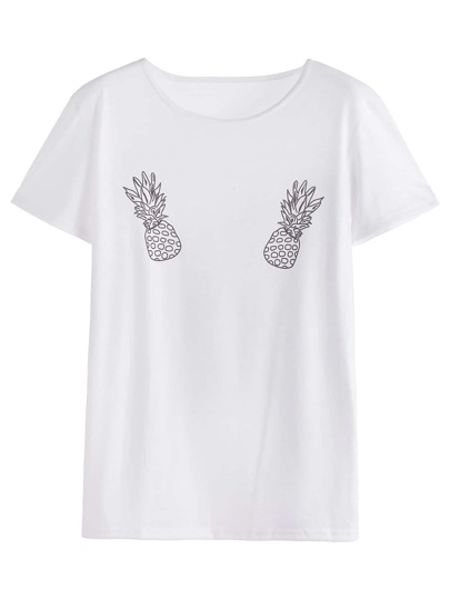 White Pineapples Print T-shirt