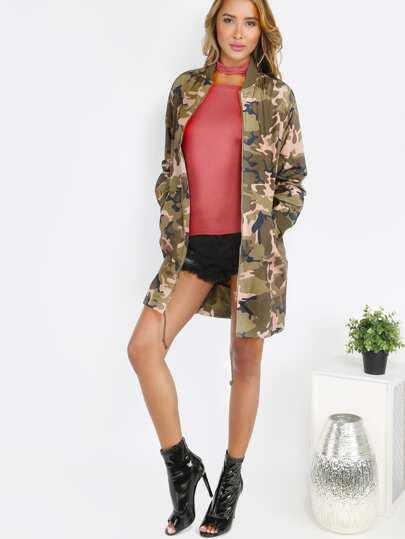 Longline Camouflage Bomber Jacket OLIVE