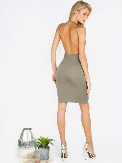 Army Green Open Back Sleeveless Bodycon Dress