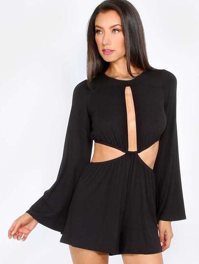 Black Cutout Bell Sleeve Jumpsuit