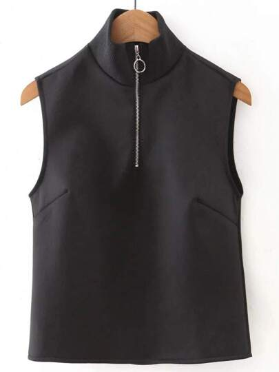 Black Mock Neck Zipper Up Crop top