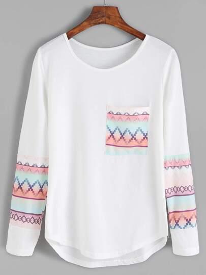 White Dip Hem Geometric Print T-shirt