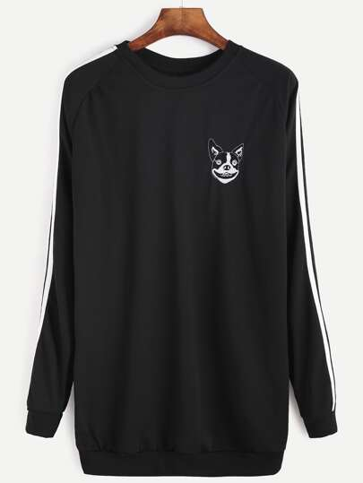 Black Embroidered Raglan Sleeve Striped Trim Sweatshirt