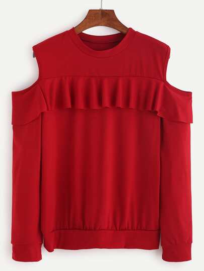 Red Open Shoulder Ruffle Trim Sweatshirt