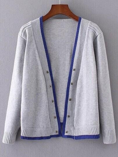 Grey Contrast Edge Open Front Sweater Coat