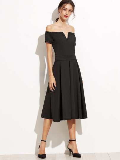 Black Off The Shoulder V Cut Zipper A-Line Dress
