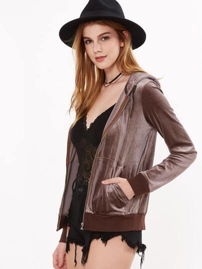 Brown Zip Up Velvet Hoodie With Pocket
