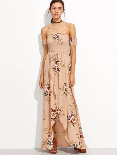 Bardot Florals Shirred Tulip Hem Dress