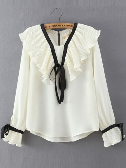 Beige Pleated Dip Hem Chiffon Blouse With Bow Tie