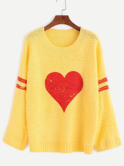 Yellow Varsity Striped And Heart Print Sweater