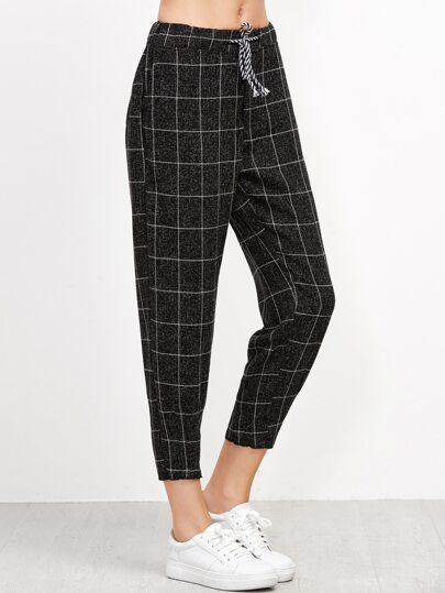 Black Grid Print Drawstring Tapered Pants