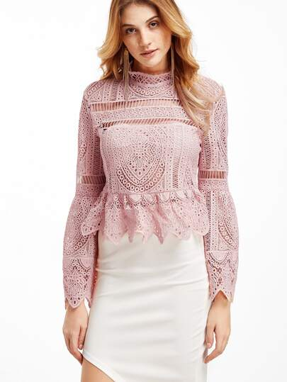 Pink Lace Bell Sleeve Peplum Zipper Back Blouse