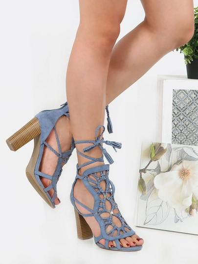 Braided Open Toe Stacked Heels BLUE