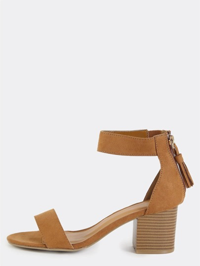 Single Strap Open Toe Block Heels TAN