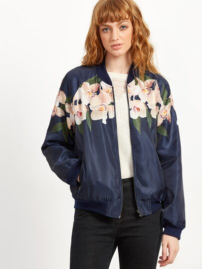 Navy Flower Print Zip Front Bomber Jacket