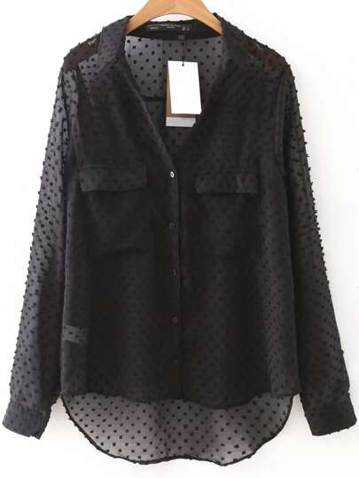 Black Front Pocket High Low Mesh Blouse