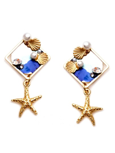 Gold Starfish Shell Faux Pearl Stud Earrings