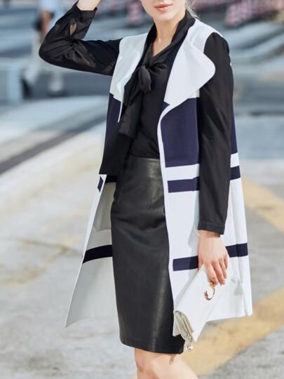 White Lapel Contrast Navy Vest