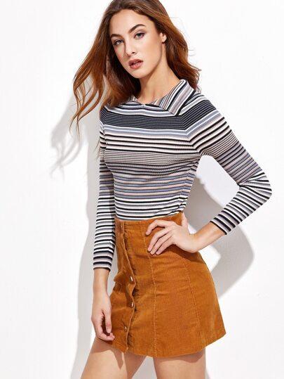 Multi Striped Off The Shoulder Foldover Sweater