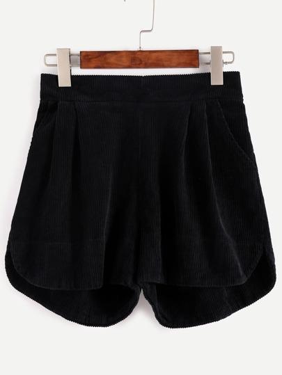 Black Elastic Waist Curved Hem Corduroy Shorts