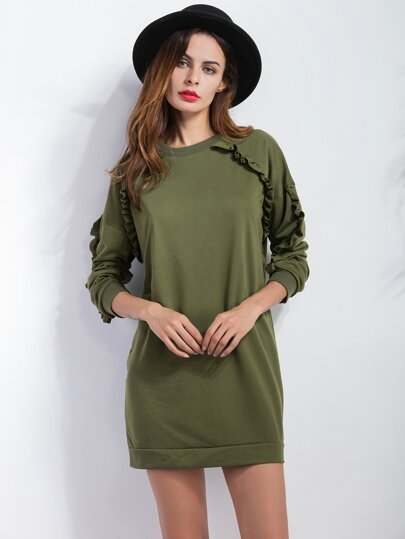 Army Green Ruffle Details Sweatshirt Dress
