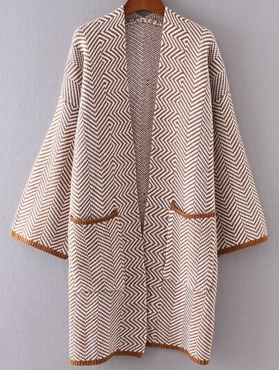Khaki Wave Pattern Collarless Front Pocket Long Cardigan