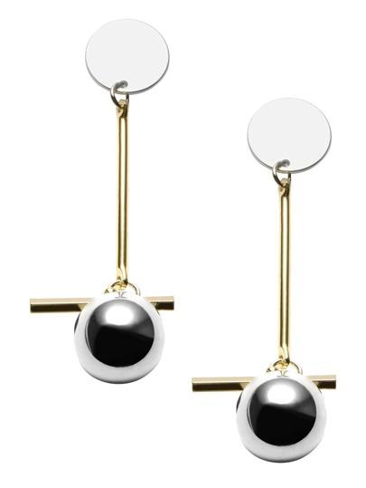 Gold Plated Geometric Metal Ball Drop Earrings