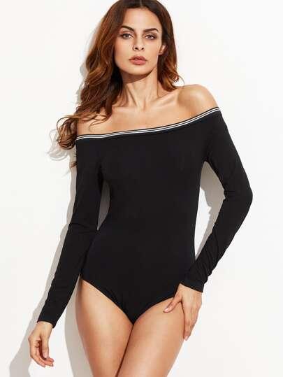 Black Off The Shoulder Striped Trim Bodysuit