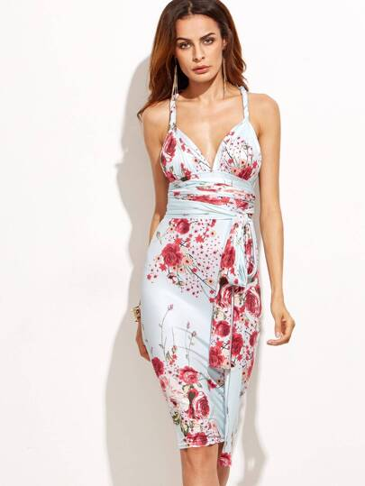 Floral Print Deep V Neck Tie Waist Cross Back Convertible Dress