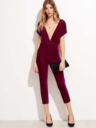 Deep V Neck Zipper Back Velvet Jumpsuit
