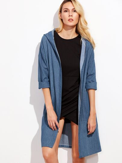 Blue Drop Shoulder Hooded Denim Coat