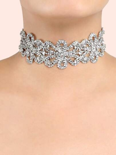 Bejeweled Floral Choker Necklace SILVER